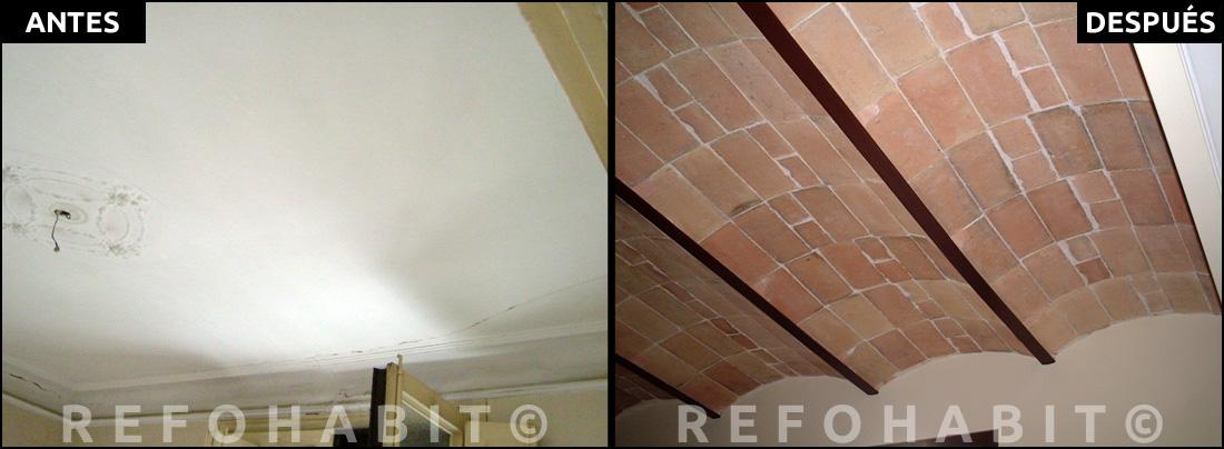 Reforma de techos con volta catalana y paredes de obra vista - Instalacion de pladur en paredes ...