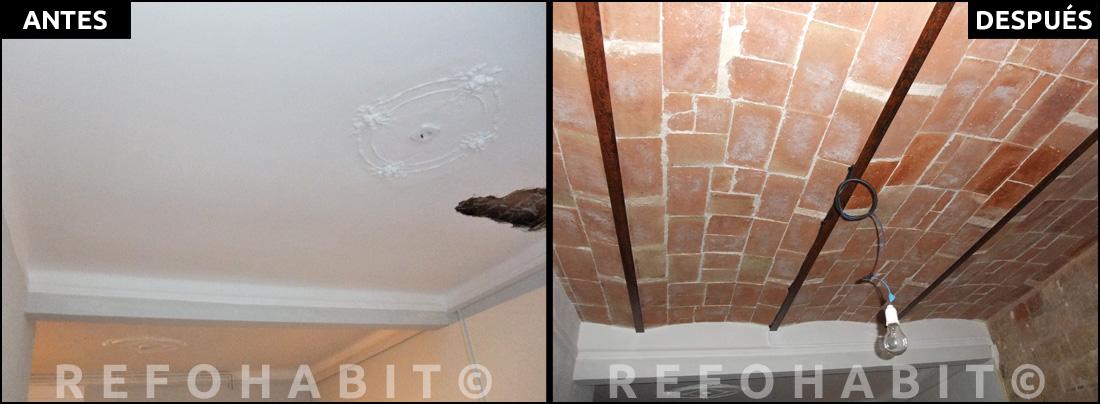 Reforma de techos con volta catalana y paredes de obra vista - Como colocar pladur en techo ...