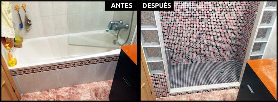 Cambiar bañera por ducha en Barcelona, gresite y pavés