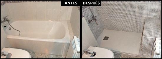 Cambio de beñera por ducha aprovechando baldosas.