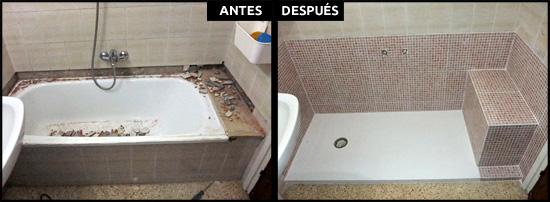 Colocación de plato de ducha con banco de obra como asiento.