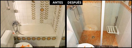 Cambio de bañera por ducha con obra y gresite antideslizante, plato a ras de suelo para acceder con facilidad.