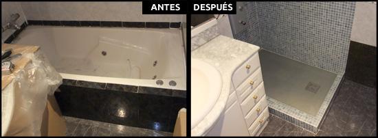 Cambio de bañera por plato de resina color gris