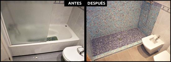Cambiar bañera para hacer ducha de obra con mosaico vítreo.