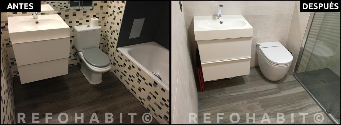 Antes y después de reforma de baño parcialmente en Cardedeu Barcelona.