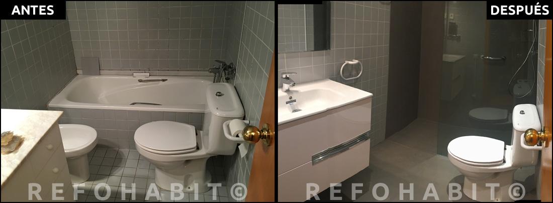 Reforma parcial de baño, con microcemento, en piso de Rubí, Barcelona