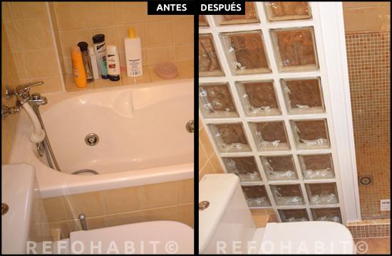 Piezas de pavés en pared de zona ducha