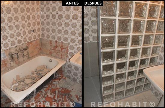 Pared de pavés para separar ducha de lavamanos