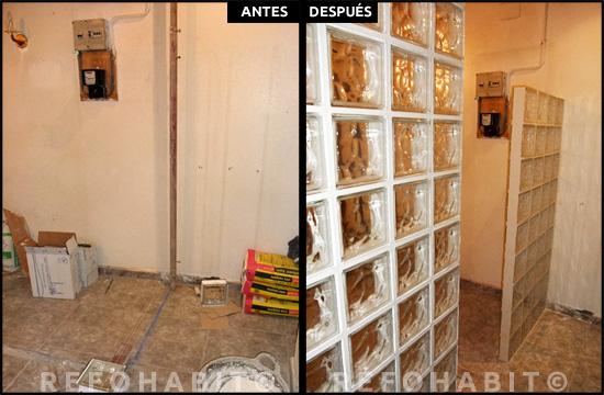 Separación con pavés entre recibidor y salón