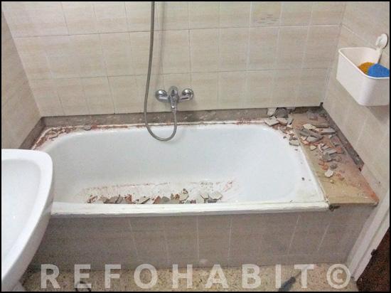 Cambio de ba era por ducha de resina para persona mayor - Quitar banera y poner plato de ducha ...