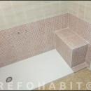 Cambio de bañera por plato de ducha de resina, con banco de obra, para persona mayor
