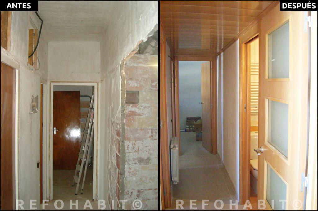Reforma de pasillo distribuidor, con puertas empotrables correderas, en piso reformado íntegramente en Barcelona. ANTES + DESPUÉS.