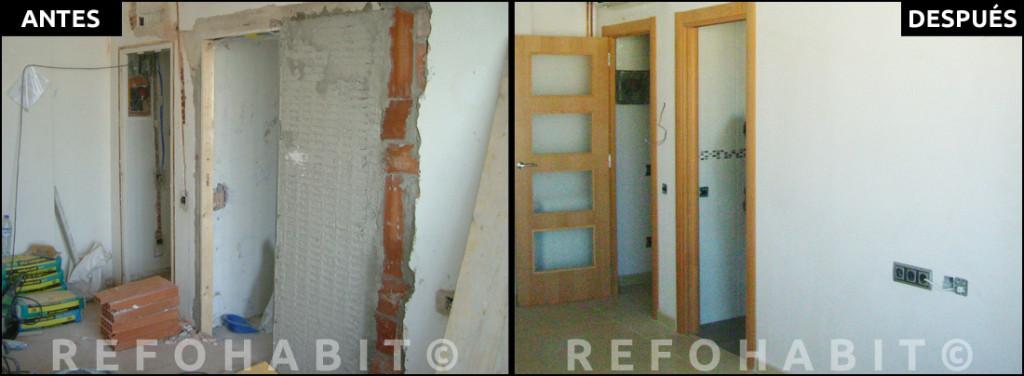 Reforma de salón, con puerta de acceso a cocina sistema empotrable corredera, en piso de Bon Pastor Barcelona. ANTES + DESPUÉS.