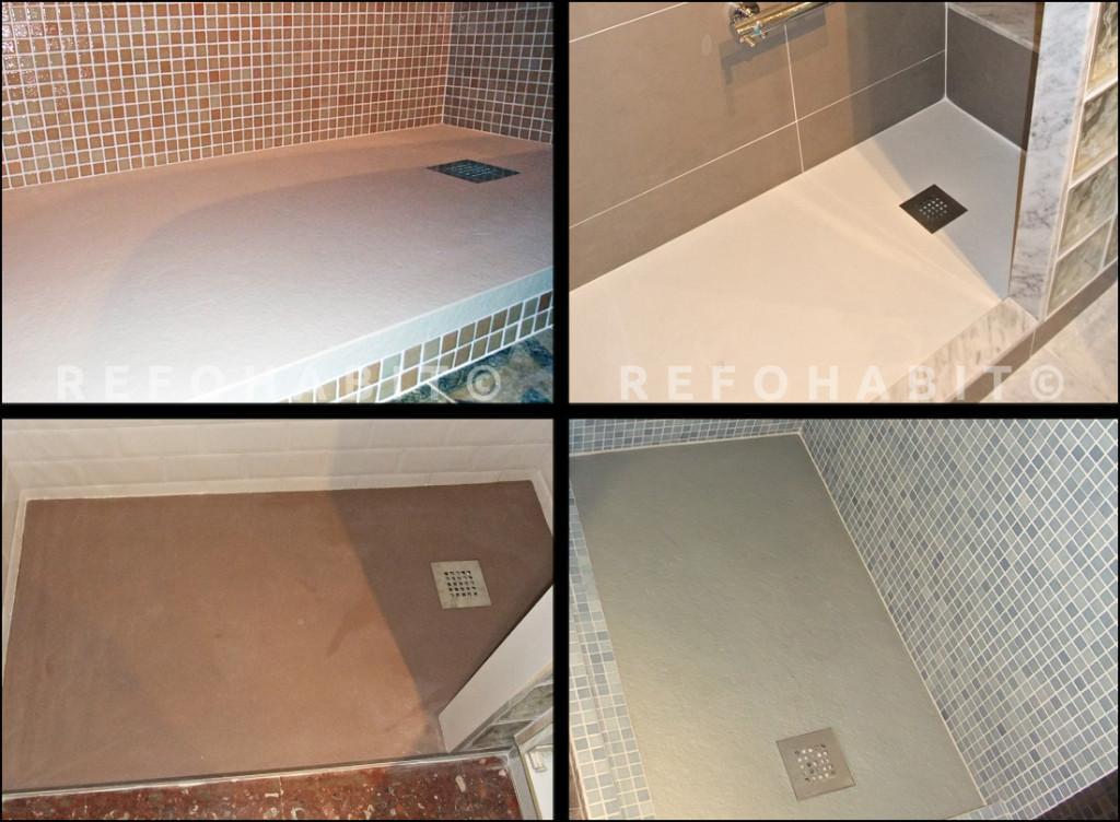 Diferentes ejemplos de platos de ducha de resina instalados en cambios de bañera por ducha en pisos de Barcelona.