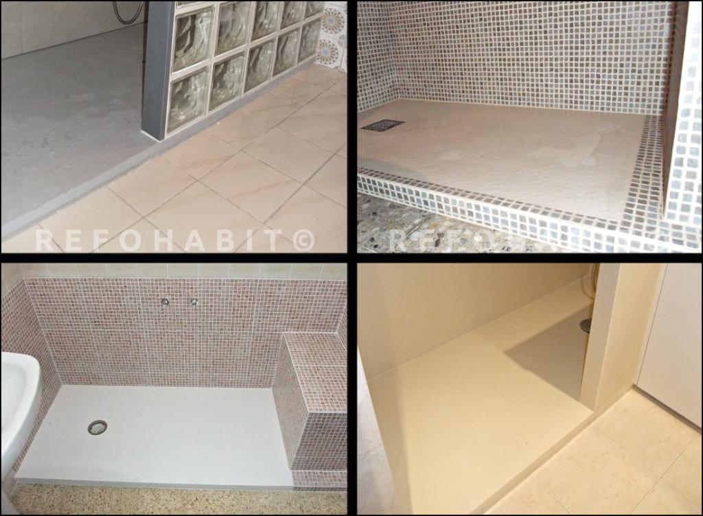 Platos de ducha de resina, colores diferentes, instalados en reformas parciales de baño con cambio de bañera por plato de ducha en Barcelona.