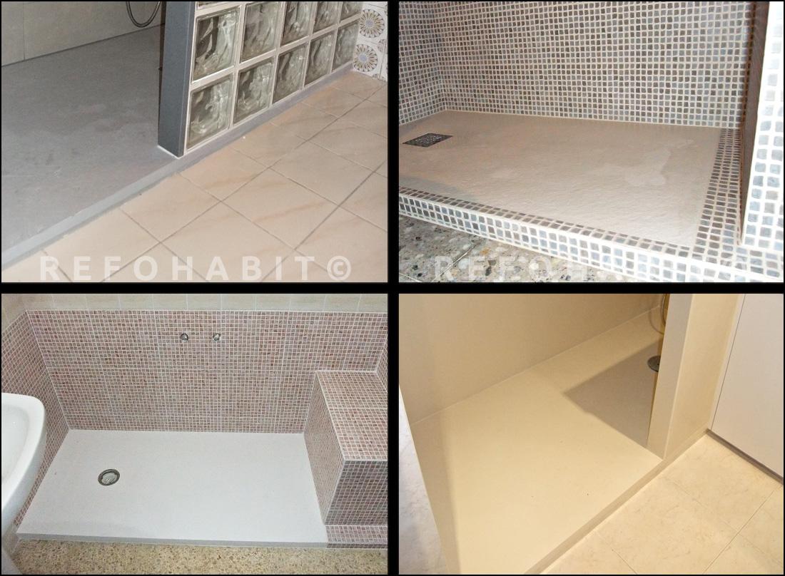 Baño Ducha Diferencia:Platos de ducha de resina, colores diferentes, instalados en reformas