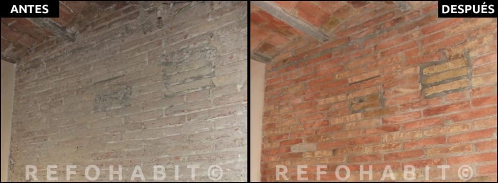 Pared de ladrillo cara vista antogua y techo con bovedilla restaurados