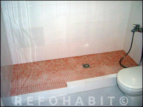 Cambiar bañera por ducha de obra con gresite antideslizante.