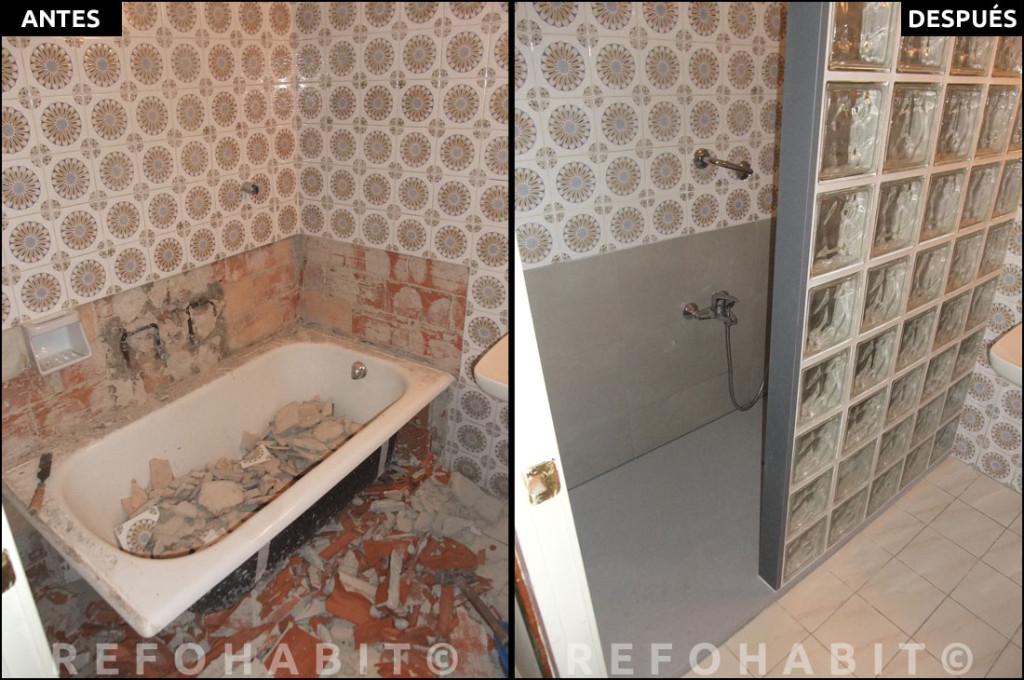 Cambio de ba era por plato de ducha de resina con pav s for Cambiar banera por ducha sin obras