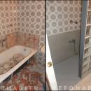 Cambiar bañera por plato de ducha de resina, manteniendo baldosas en paredes y pared de pavés
