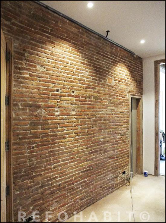 Reformar y limpiar pared de obra vista ladrillo visto antiguo - Ladrillo visto rustico ...