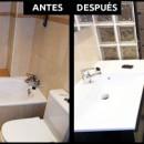 Cambio de bañera por ducha de obra con gresite y mampara de pavés