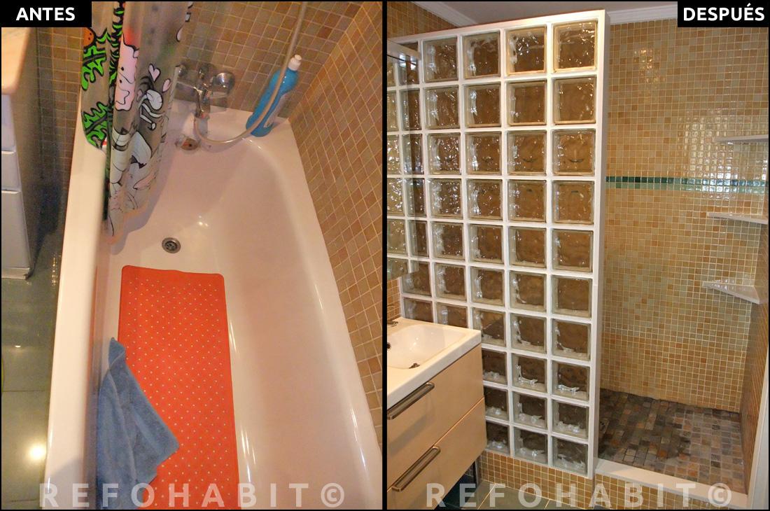Reforma de ba o en sants cambio de ba era por ducha - Banos con paredes de cristal ...