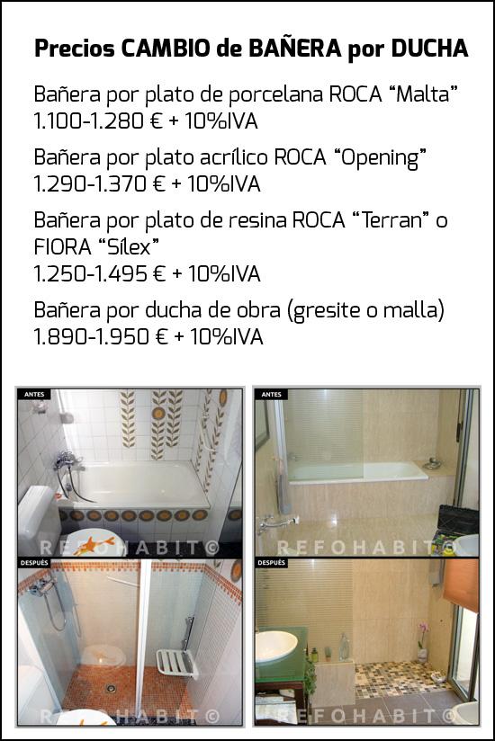 Tarifas y precios por cambiar bañera por ducha de resina, plato cerámico, porcelana o acrílico